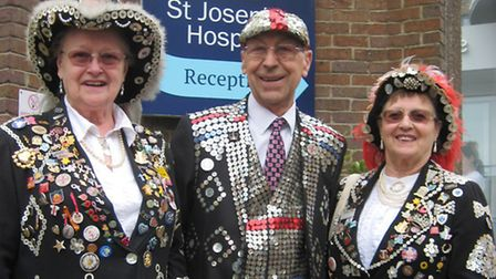 Bob Paice as Pearly King with a couple of Pearly Queens
