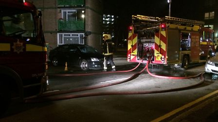 Firefighters tackle a fire in East Ham