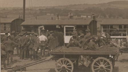 Horses being loaded onto a train in England in 1914. [Picture: Cupid's War by Martin Laurie]