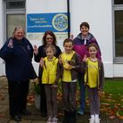 Brownies and their leaders outside London World Centre