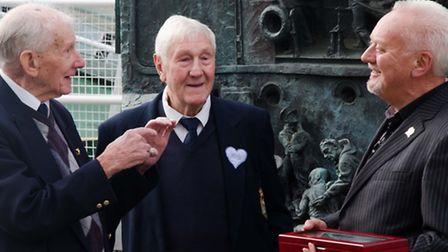 The oldest surviving D-Day brother, Johnny Dale (left) His brother Ernest Dale (centre) with Nick Mo