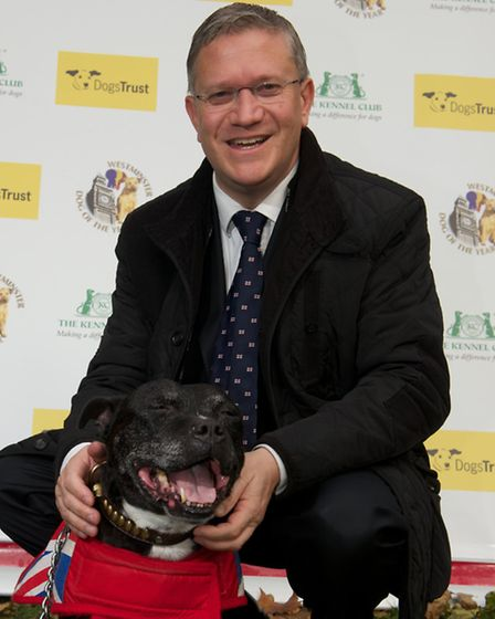 Proud owner: Andrew Rosindell with Staffie Buster