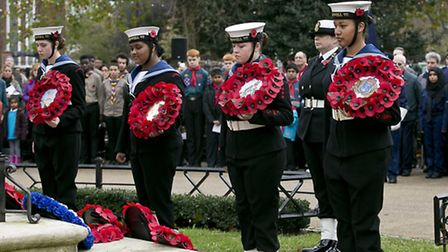 The wreath laying was a somber occasion Picture: Andrew Baker
