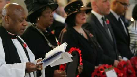 Rev Stennet Kirby conducted the service of remembrance attended by West Ham MP Lyn Brown