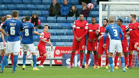 Oldham's Mike Jones nets from a free-kick. Pic: Simon O'Connor