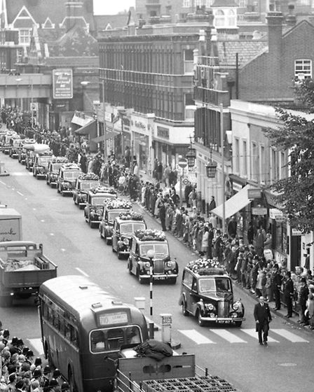 File photo dated 01/09/1966 of Police and members of the public in Uxbridge, London, as a procession