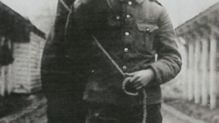 George Coombes with a Field Artillery horse