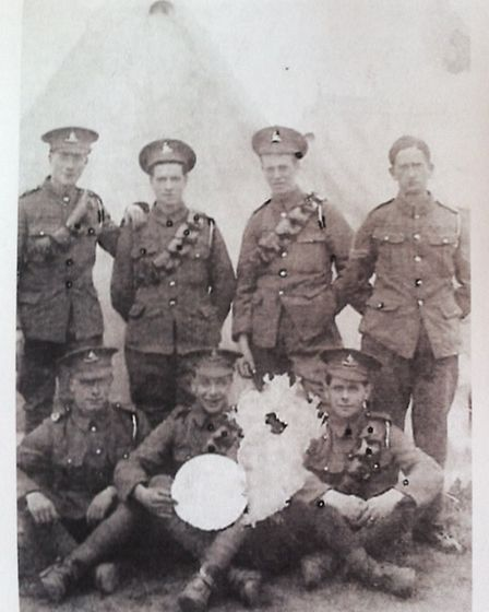 George Coombes (back row, second right) with fellow soldiers at a training camp in St Albans, Hertfo