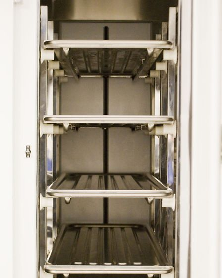 One of the storage fridges at the Queen's Hospital mortuary (photo: Arnaud Stephenson)