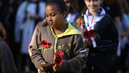 Brownies and Guides with their poppy tributes at the Remembrance Sunday service at Wanstead War Memo