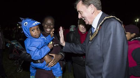 Newham Mayor Sir Robin Wales high-fives a local lad. Pictures: Andrew Baker and Paul Boylin