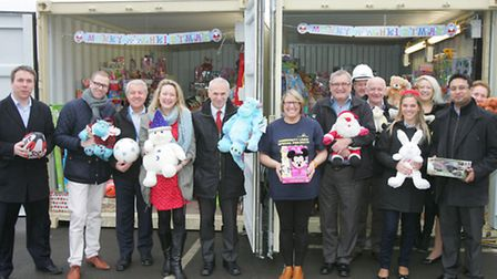 Staff with a selection of toys they have donated