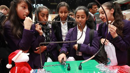 Youngsters in a workshop at TeenTech's technology hub in the Copper Box.