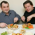 Ben Crandon and George Mann tuck into their roast dinners