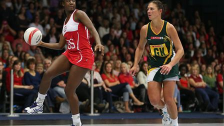 Sasha Corbin of England in action against South Africa.