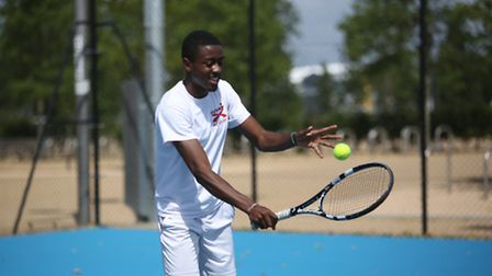 .Sebastian Lawrence, 15, at the opening of Lee Valley Hockey and Tennis Centre in Stratford.