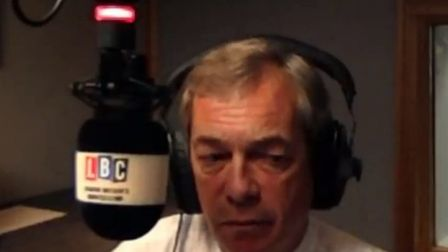 Nigel Farage is left speechless on his own LBC radio show. Image: LBC/Global.