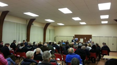 Residents attend the first unofficial area committee meeting in Broadmead Baptist Church Hall.