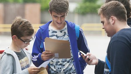 Students from Ormiston Denes Academy, Lowestoft collect their GCSE results.