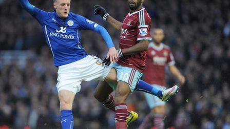 Leicester City's Jamie Vardy and West Ham United's Alex Song during the Barclays Premier League matc