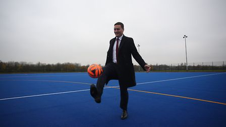Cllr Wes Streeting testing out the new pitch at the Ashton Playing Fields