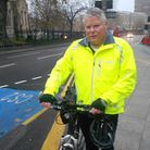 Arnold Ridout at the junction where the CS2 cycle superhighway has been partially removed