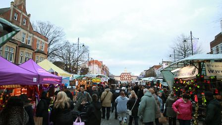 Christmas shoppers in Romford Town Centre