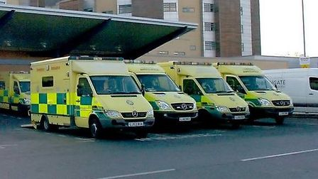 Ambulances outside Queen's Hospital's A&E (Picture: Sandra Rowse)