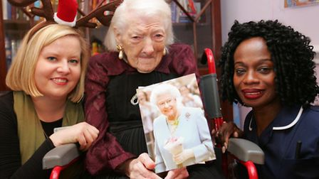 100 year old Kathleen Hibbard with Adriana Grotek and Jenny Evans