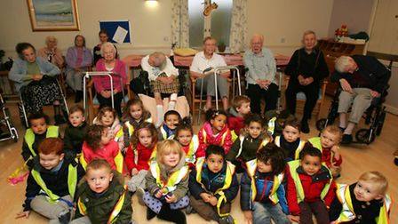 Children from Scallywags nursery in Hornchurch are a the Hornchurch nursing care home for their annu