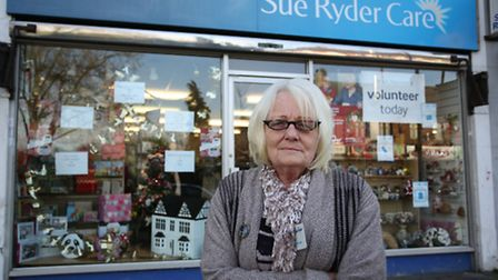 Manager Pam Watson outside Sue Ryder Care charity shop