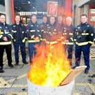 Firefighters during previous strike action