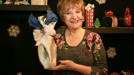 Inernational gift wrap expert Arona Khan gives some tips on gift wrapping at the Simply Christmas fa