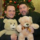 EastEnders stars Perry Fenwick and Ricky Grover donate teddy bears for the Recorder toy appeal