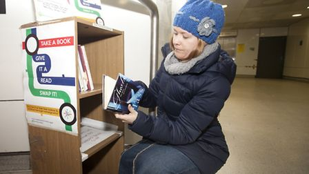 Justine Rose, who runs Stratford Bookswap, at the site where shelves were vandalised