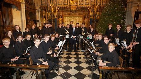 The Redbridge Music School brass band at the Mayor's Carol Service at Southwark Cathedral.