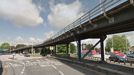 The A12 is closed eastbound at the Gallows Corner junction with the A127 [Photograph from Google Str