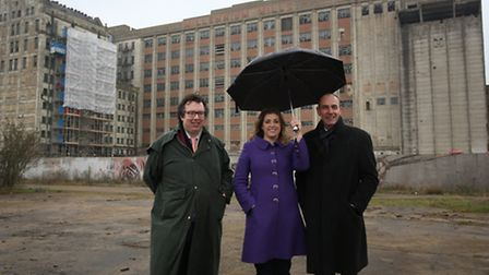 Penny Mordaunt MP at the site of a new development in Silvertown with Project Director Phil Wade and