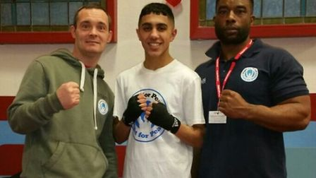 Fight for Peace youngster Haris Najeeb celebrates his win in the ABA youth championships at West Ham