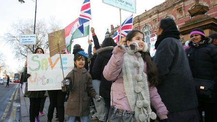 Protesters at East Ham town hall against the closure of the Upton centre