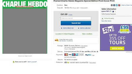A screengrab of the eBay listing captured during bidding on Wednesday. The Recorder has redacted the