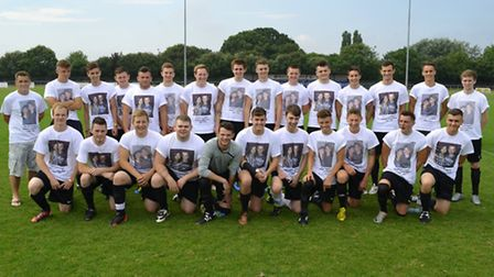 TRIBUTE: Sam Jaggard's friends wore T-shirts bearing a photograph of Sam and Kathryn Rivett at the c
