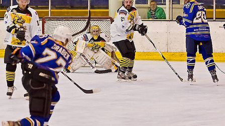 London Raiders captain Tom Davis (right) looks on as Vaclav Drabek lets fly at Bracknell (pic: Kevin