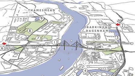 An artist's impression of the bridge. This is not intended to represent the finished project