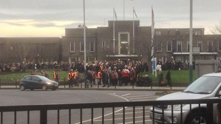 The scene outside Havering Town Hall after it was evacuated. Picture: @MartinSquirrell
