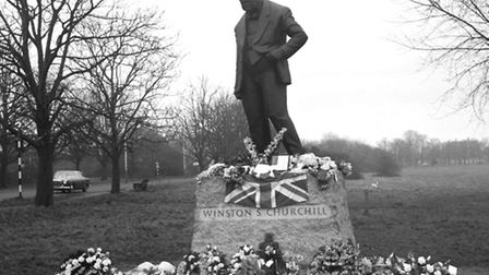 Churchill's statue in Woodford Green after his state funeral. Picture: PA