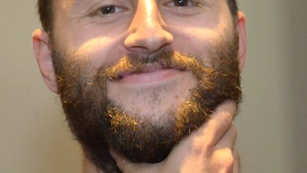Before - Lowestoft Town striker Chris Henderson prepares to have his beard shaved and his legs waxed