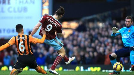 West Ham United's Andy Carroll scores his sides first goal of the game
