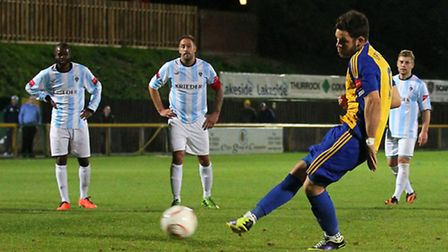 Tom Richardson scored a last-minute penalty against Waltham Abbey, his last goal for Romford before