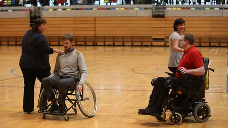 Reporter Mark Shales learning wheelchair dancing with partner Patricia Reilly and work expeirence ca